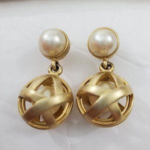 Vintage E Pearl Earrings Gold Tone Matte Cage Drop